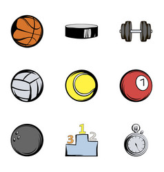 Sport equipment icons set cartoon style vector