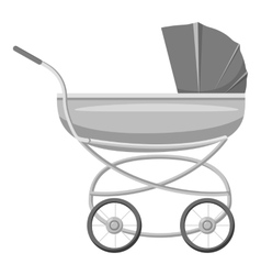 Stroller for toddler icon gray monochrome style vector