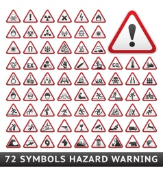 Triangular Warning Hazard Symbols Big red set vector image