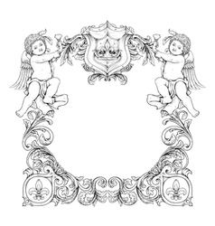 victorian frame with angels vector image vector image