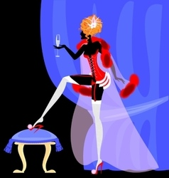 Drinking lady in the corset vector