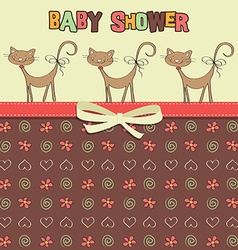 Delicate baby shower card with cats vector image