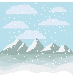 Landscape of mountains and snowing design vector