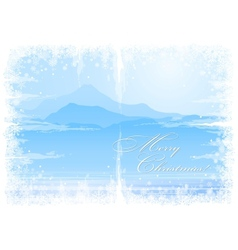 Christmas background with mountain view vector