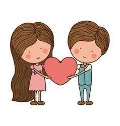 Couple holding heart with striped hair vector