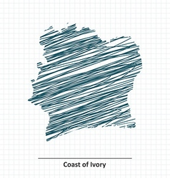 Doodle sketch of Coast of Ivory map vector image