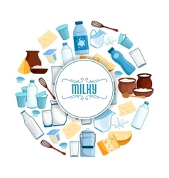 Milk and dairy products poster vector