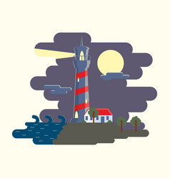 beautiful lighthouse in the night sky background vector image
