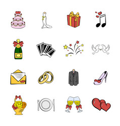 wedding icons set cartoon vector image