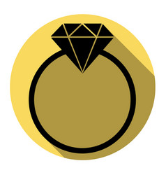 Diamond sign   flat black icon vector