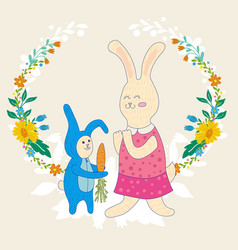 Mothers day greeting cardbaby rabbit gives mom vector