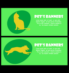 Two banners with cat and dog silhouette vector