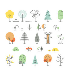Forest trees line icons with simple geometric vector