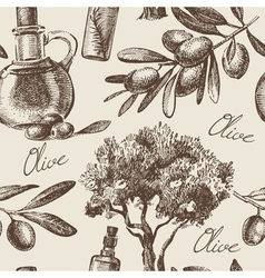 Hand drawn vintage olive seamless pattern vector