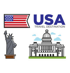 Usa america travel landmarks and american culture vector
