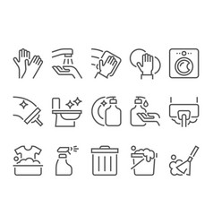 Simple set of cleaning related flat line icons vector