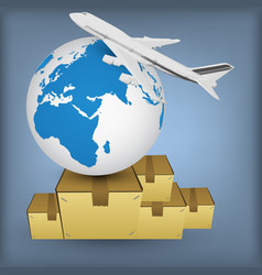 Airline transport for shipping around the world vector