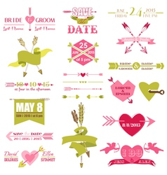 Valentine and wedding graphic set vector