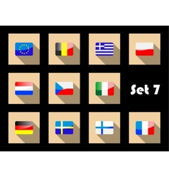 Flat flags icons of european countries vector