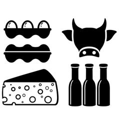 Set food icon for milk production vector