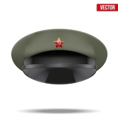 Russian military officer peaked cap with red star vector