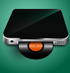 Old records played on mobile devices vector