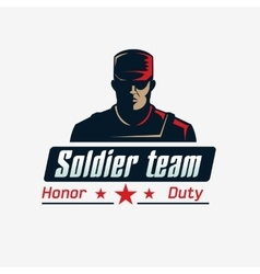 Soldier team logo template serious man in vector