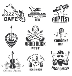 Different music styles retro emblems and bages vector