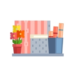 Home objects on the shelf vector