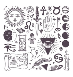 Set of trendy esoteric symbols collection vector