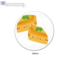 Baklava or israeli cheese pastry with syrup vector