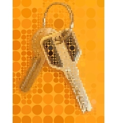 Two keys with metal ring on the orange background vector