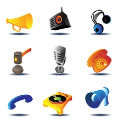 Icons of sound devices vector