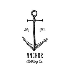 anchor engraved vintage in old hand drawn or vector image vector image