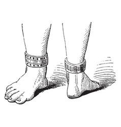 Ankle bracelet has antique design vintage vector