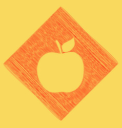 Apple sign red scribble icon vector
