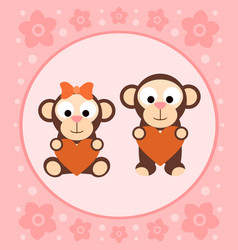 Background with funny monkeys cartoon vector