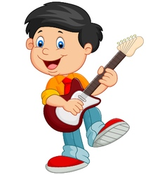 Cartoon child play guitar vector