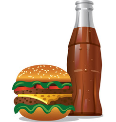 Cola and hamburger vector