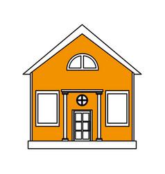 Color silhouette cartoon yellow facade structure vector