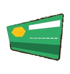 Credit card bank green color sketch vector