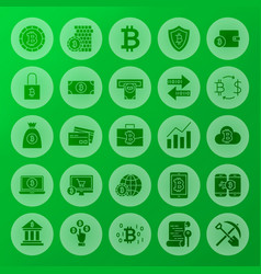 Cryptocurrency solid circle icons vector