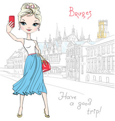 cute hipster girl makes selfie in bruges belgium vector image vector image