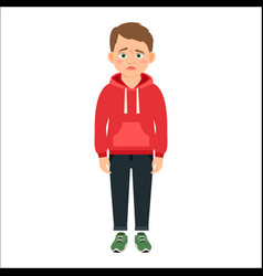 Disappointed little boy in red hoodie vector