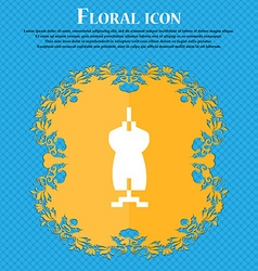 Dress Icon sign Floral flat design on a blue vector image