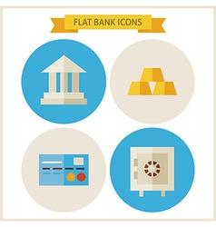 Flat bank website icons set vector