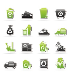 Garbage and rubbish icons vector image