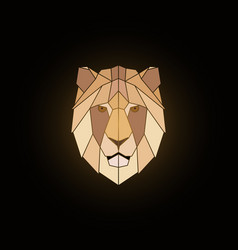 geometric lion head design on black background vector image