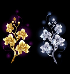 Gold and silver orchid vector