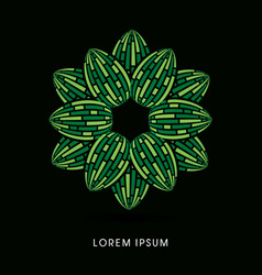 green lotus abstract construction vector image